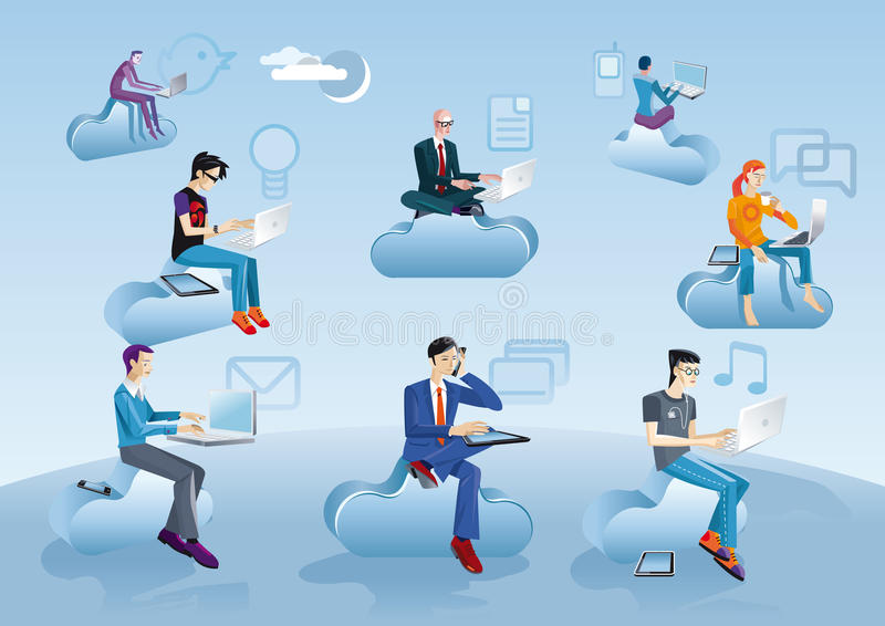 Download Cloud Computing Men Sitting In Clouds With Icons Stock Vector - Image: 23925112