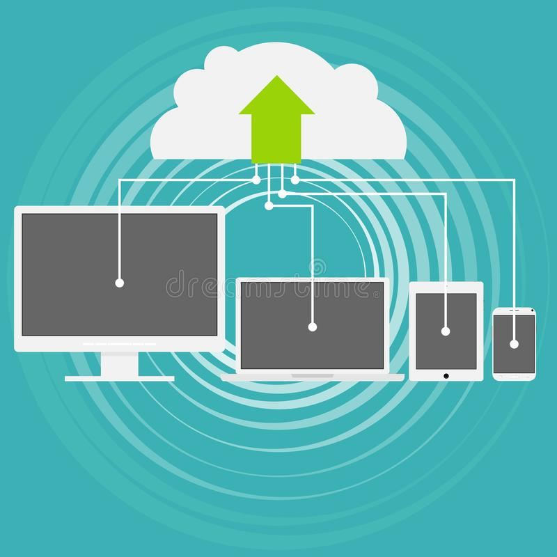 Cloud computing is a modern technique. Storage of information on a cloud resource. Cloud storage technology. stock illustration