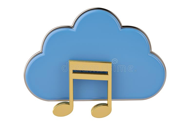 Cloud computing multimedia concept clouds with note on white background.3D illustration. royalty free illustration