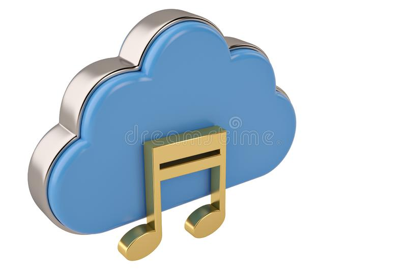 Cloud computing multimedia concept clouds with note on white background.3D illustration. stock illustration