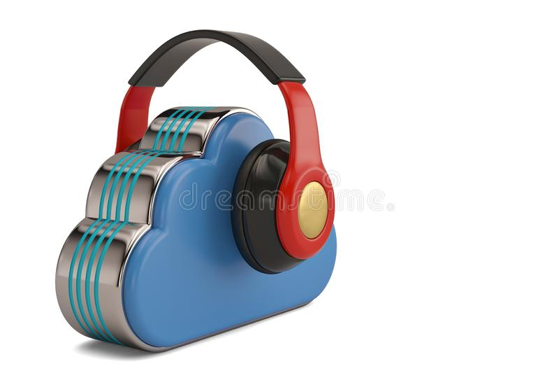 Cloud computing multimedia concept headphones and clouds on whit. E background.3D illustration vector illustration