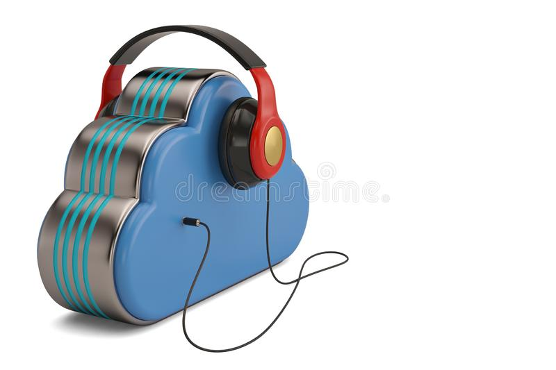 Cloud computing multimedia concept headphones and clouds on whit. E background.3D illustration royalty free illustration