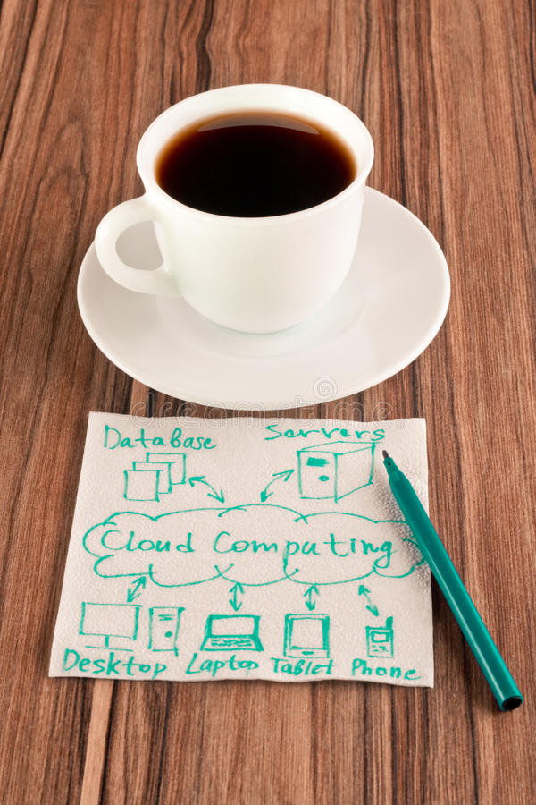 Cloud computing on a napkin royalty free stock image