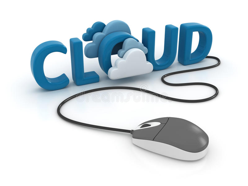 Cloud computing network. This is a computer generated and 3d rendered image stock illustration