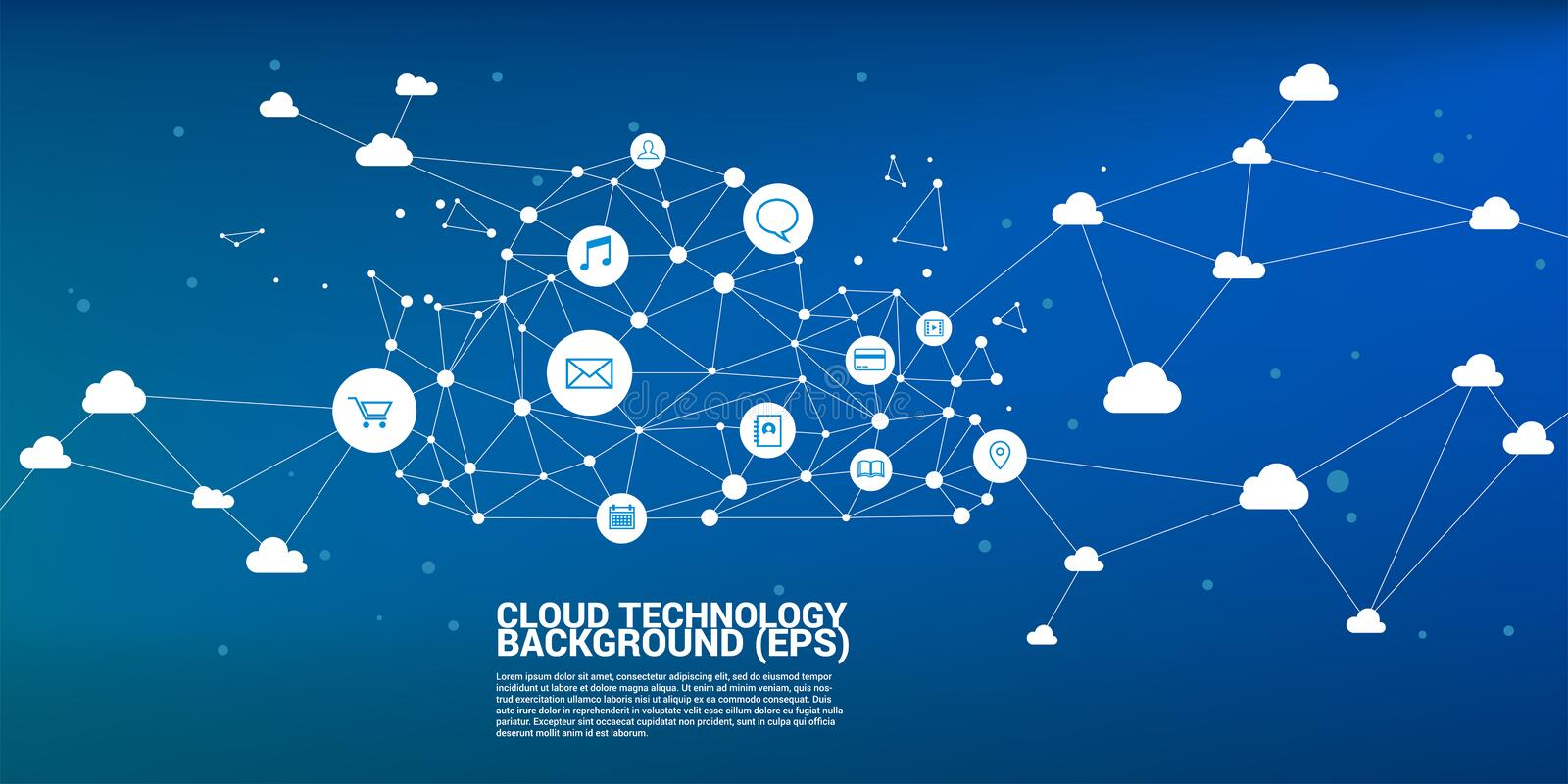 Cloud computing network concept polygon dot connected line. Concept of cloud server Storage and data royalty free stock photo