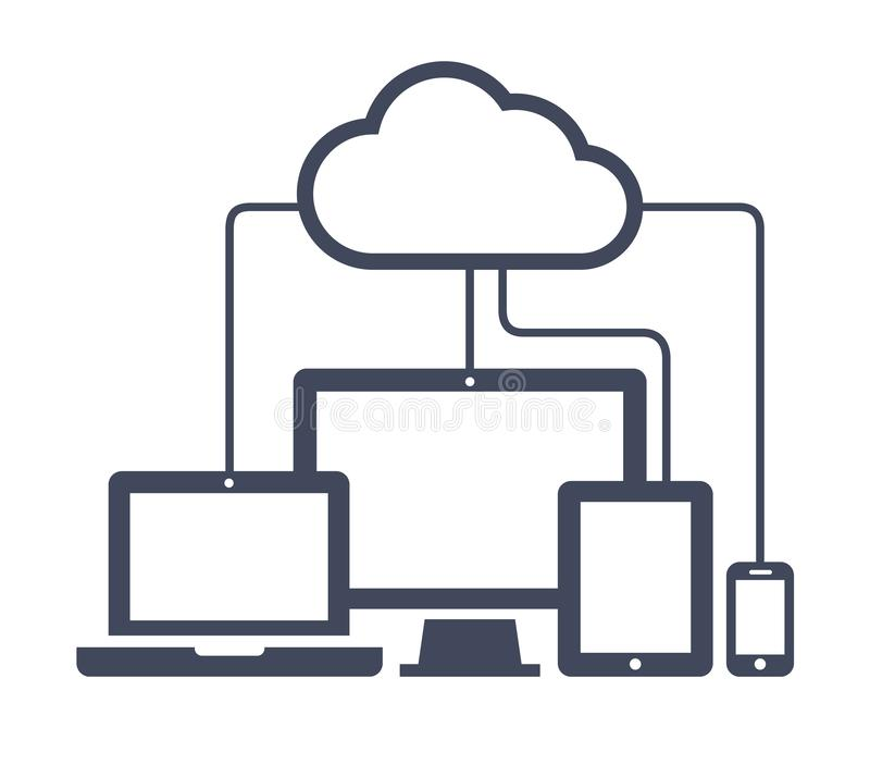 Cloud computing Network Connected all Devices. Flat design. vector illustration
