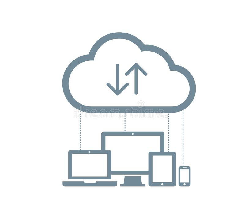 Cloud computing Network Connected all Devices. Flat design. Isolated illustration, vector stock illustration