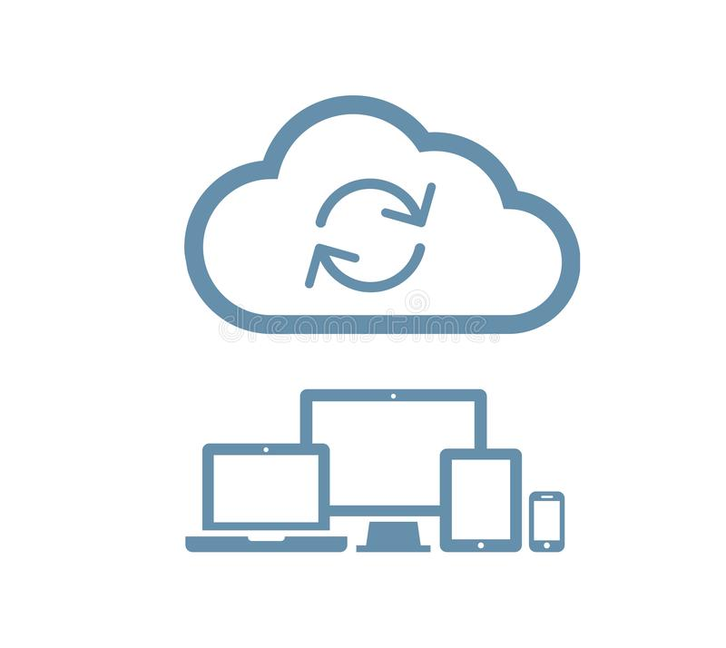 Cloud computing Network Connected all Devices. Flat design. Isolated illustration, vector royalty free illustration