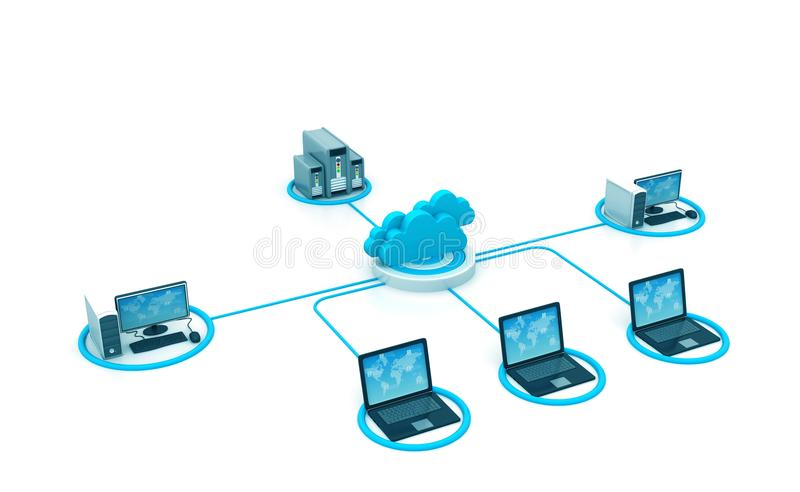 Cloud computing network stock illustration