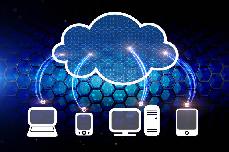 Cloud computing network. And main electronic devices royalty free illustration