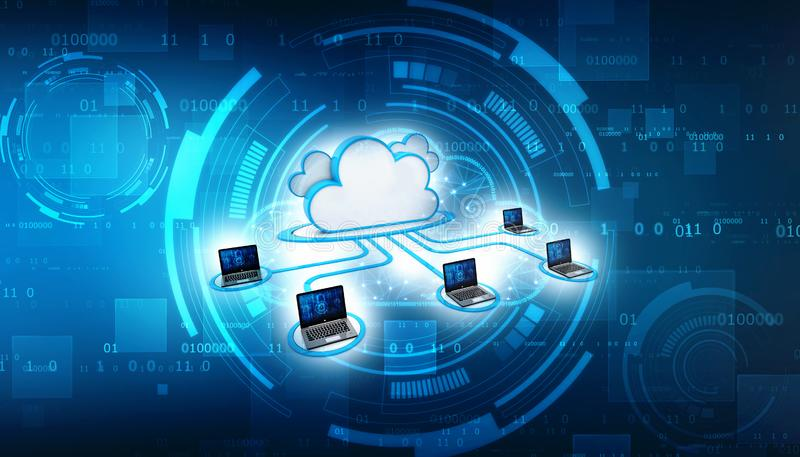 Cloud computing and network security technology concept. 3d render stock illustration