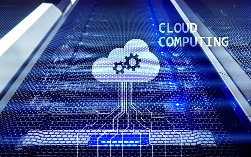 Cloud computing and networking concept on server room background stock image