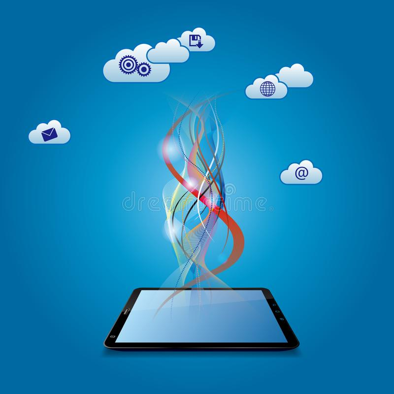 Cloud computing and networking design concept. royalty free illustration