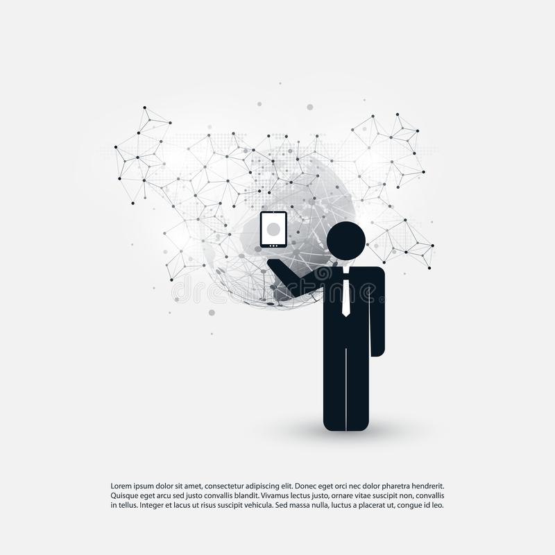 Cloud Computing and Networks Design Concept with a Standing Business Man Holding a Mobile Device - Digital Network Connections. Abstract 3D Cloud Computing vector illustration