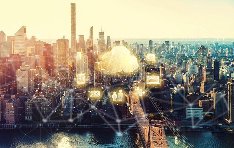 Cloud Computing with the New York City royalty free stock photography