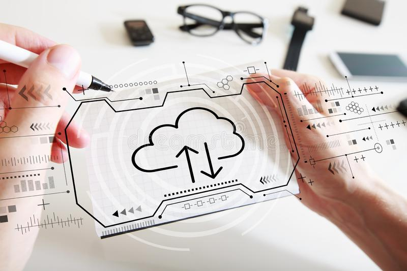Cloud computing with a notebook. Cloud computing with man writing in a notebook stock images