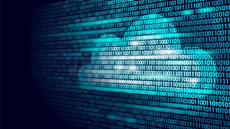 Cloud computing online storage binary code numbers. Big data information future modern internet business technology royalty free illustration