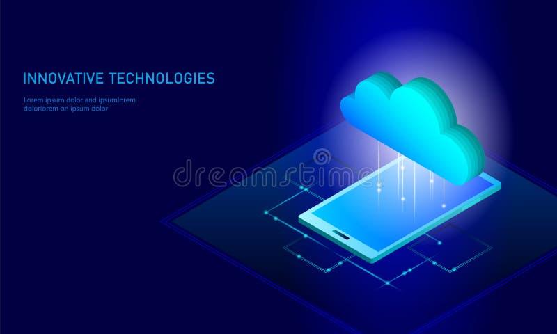 Cloud computing online storage isometric smartphone. Big data information future modern internet business technology. Blue glowing global file exchange royalty free illustration
