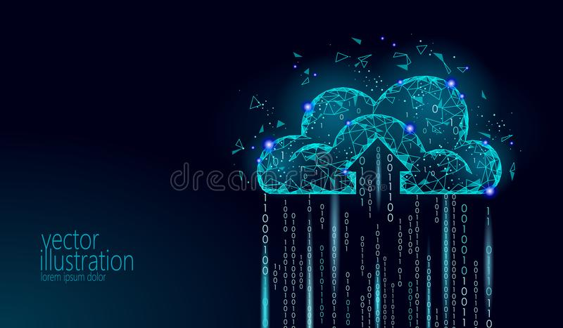 Cloud computing online storage low poly. Polygonal future modern internet business technology. Blue glowing global data vector illustration