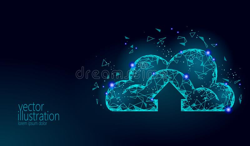 Cloud computing online storage low poly. Polygonal future modern internet business technology. Blue glowing global data. Information exchange available royalty free illustration