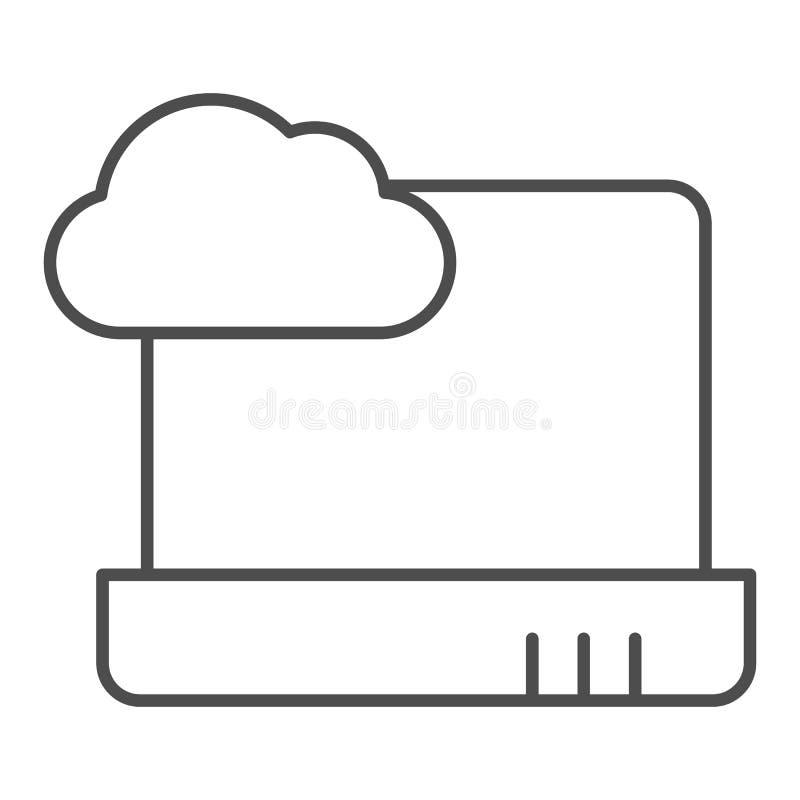 Cloud computing op laptoppictogram met dunne lijn Laptop met wolkenvectorillustratie geïsoleerd op wit Gegevenscloud op royalty-vrije illustratie