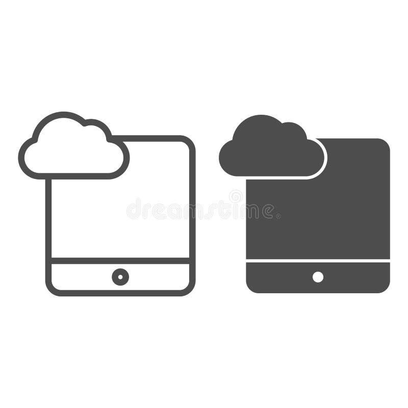 Cloud computing op tabletlijn en glyph-pictogram Digitale tablet met wolkenvectorillustratie geïsoleerd op wit Gegevens stock illustratie