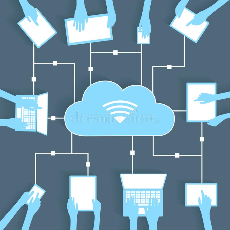Cloud Computing Paper Cutout BYOD Devices Network. Wifi Internet Connectivity concept, EPS10 Grouped and Layered vector illustration