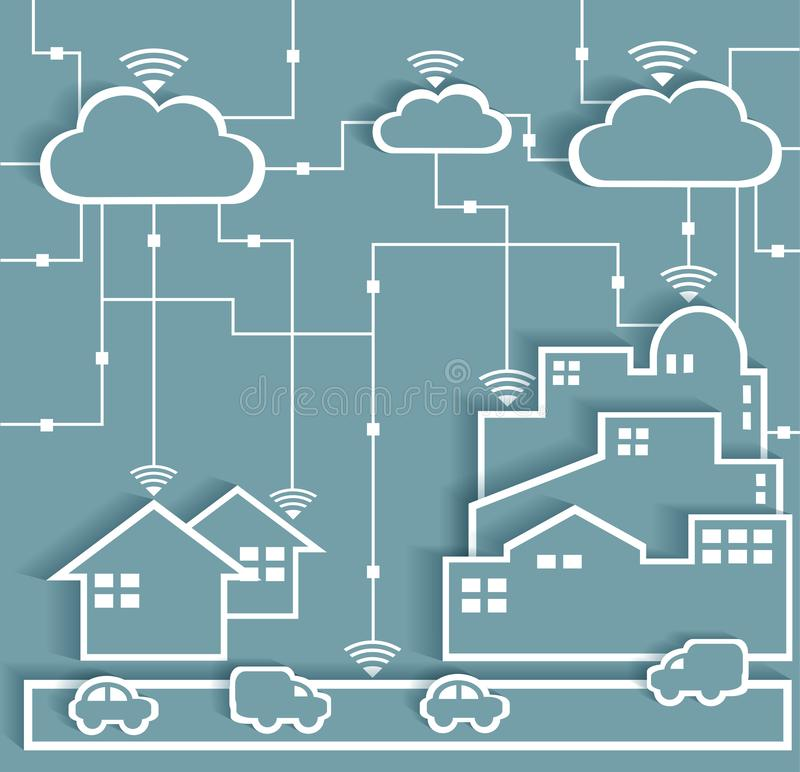 Cloud Computing Paper Cutout Stickers City and Suburb Network. Wifi Internet Connectivity concept, EPS10 Grouped and Layered stock illustration