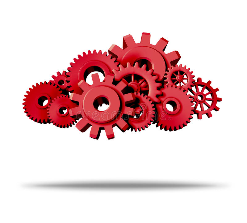 Cloud Computing With Red Gears And Cogs Royalty Free Stock Photo