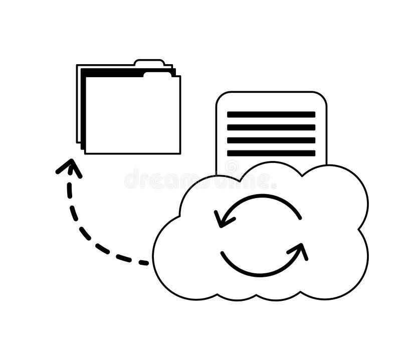 Cloud computing reload folder file data document sharing royalty free illustration