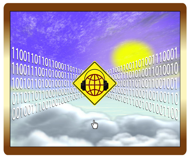 Cloud computing at risk. Web security concept concerning storage of data stock illustration