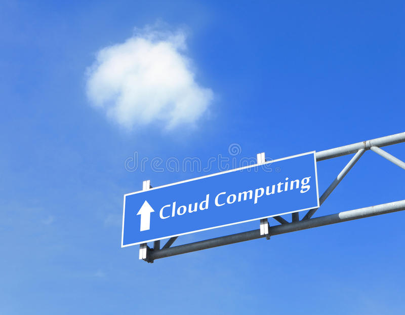 Cloud computing in road Traffic sign. With blue sky and white cloud, concept for Cloud computing technology stock photos