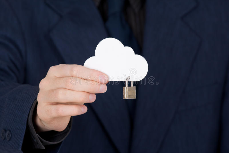 Cloud computing security. Concept. Hand giving secure cloud locked with padlock