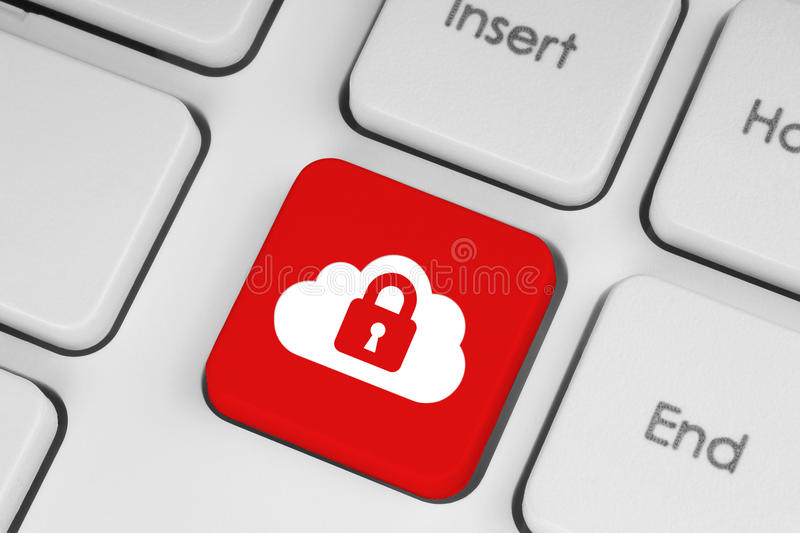 Cloud computing security concept. On red keyboard button close-up royalty free stock image