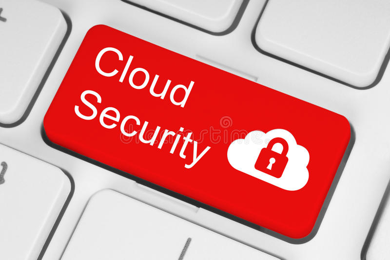 Cloud computing security concept on red keyboard button stock photos