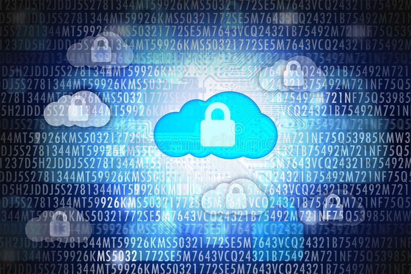 Cloud computing security or data protection royalty free stock images