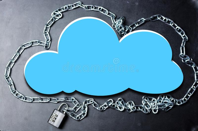 Cloud computing security database network concept with chain and padlock on dark background royalty free stock photo