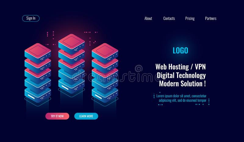Cloud computing, server room rack isometric icon, big data processing, database data center, blockchain concept dark. Neon vector vector illustration
