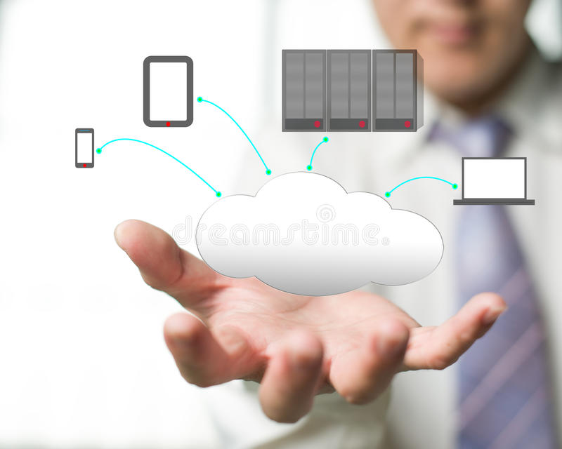 Cloud computing service with a business man and  office backgrou