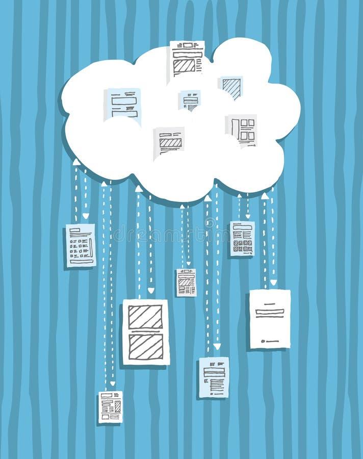 Cloud computing / Sharing documents online vector illustration