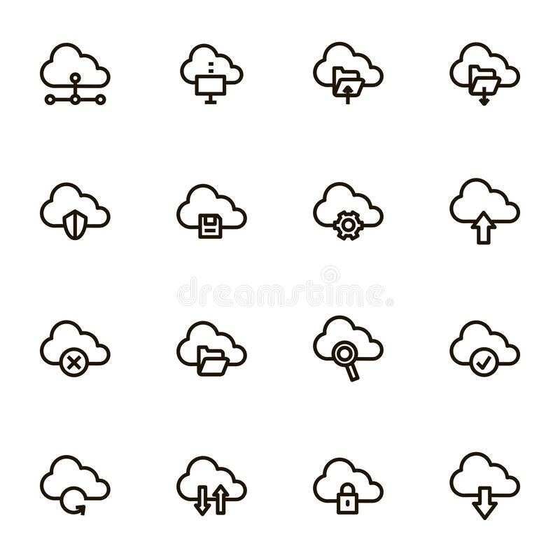 Cloud Computing Signs Black Thin Line Icon Set. Vector vector illustration