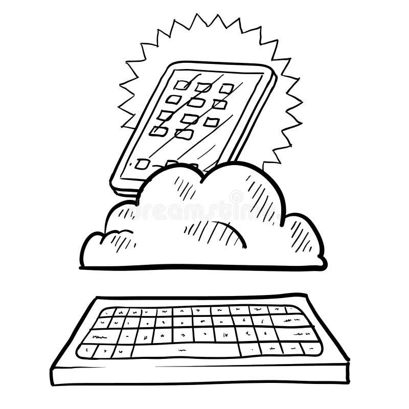 Download Cloud computing sketch stock vector. Illustration of cellular - 24689763