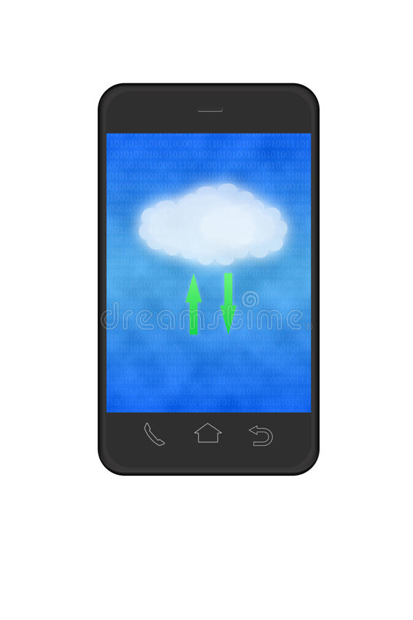 Download Cloud Computing In Smartphone Stock Illustration - Illustration of equipment, phone: 23053673