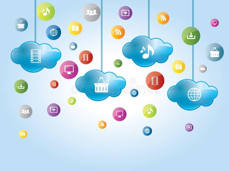 Cloud computing and social medias vector illustration