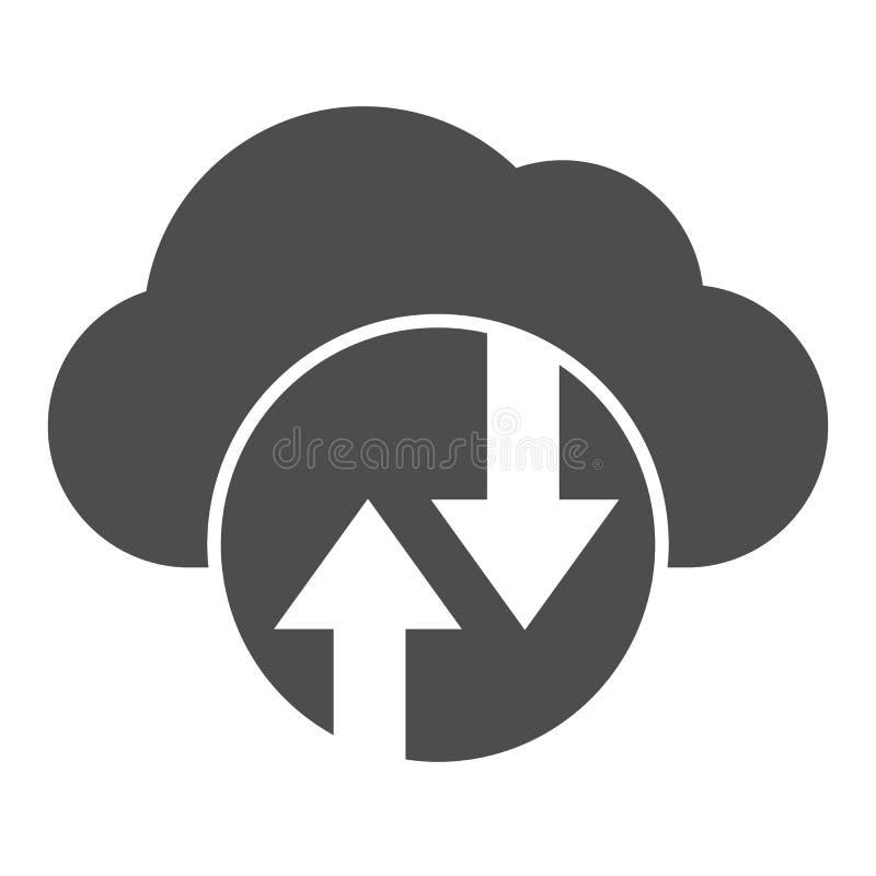 Cloud computing solid icon Cloud hosting vectorillustratie geïsoleerd op wit Ontwerp met glyph-stijl voor gegevenscloud, ontworpe vector illustratie
