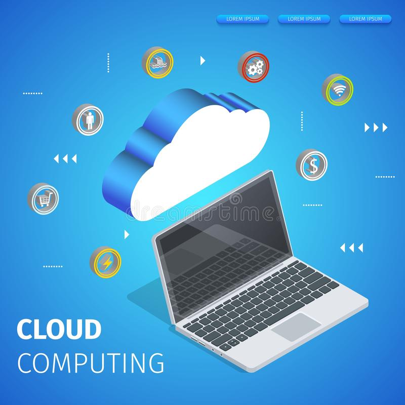Data Center Hosting Server Connected with Laptop. royalty free illustration