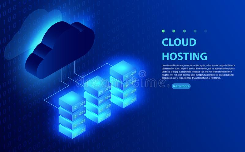 Cloud computing, storage, hosting, services, network management, data synchronization vector concept. stock illustration