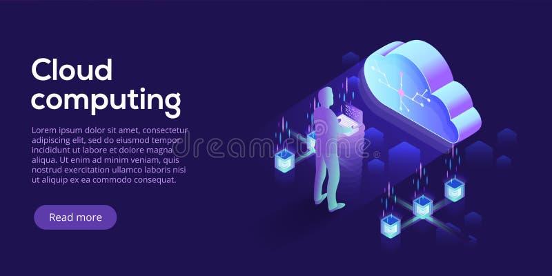 Cloud computing or storage isometric vector illustration. 3d hos. Ting servers or datacenter background. IT network or mainframe infrastructure website header royalty free illustration