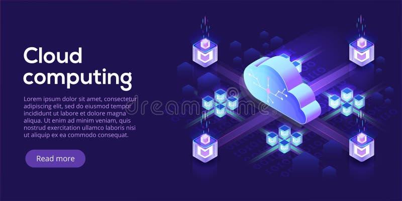 Cloud computing or storage isometric vector illustration. 3d hos. Ting servers or datacenter background. IT network or mainframe infrastructure website header vector illustration