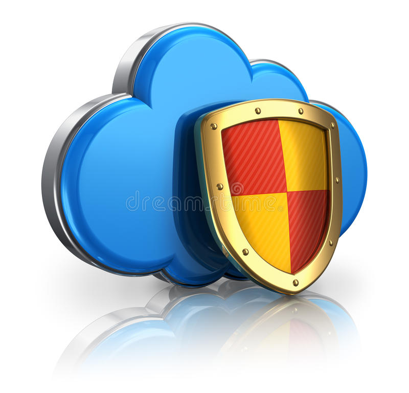 Cloud computing and storage security concept vector illustration